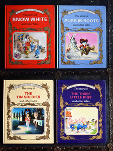 Golden Fairy Tale Hardcover Book Collection - Set of 4 - Snow White, Puss in Boots, Tin Soldier, Three Little Pigs - Printed in Italy - 1988
