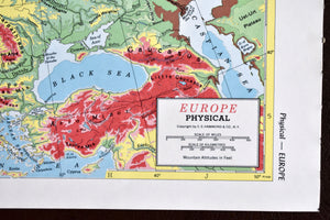"1940s Map of Europe  - 10.25""x14.25"" - Physical Relief - Hammond's Ambassador World Atlas - Printed in USA - Antique Maps to Frame"