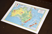 "Load image into Gallery viewer, 1940s Map of Australia  - 10.25""x14.25"" - Physical Relief - Hammond's Ambassador World Atlas - Printed in USA - Antique Maps to Frame"
