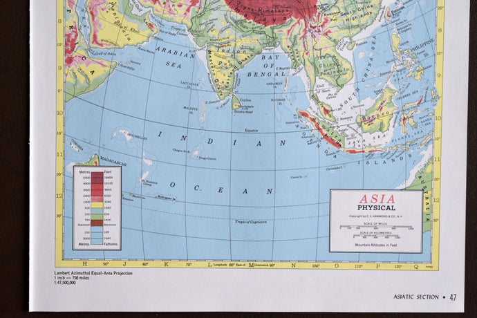 1940s Map of Asia - 14.25