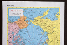 "Load image into Gallery viewer, 1940s Map of The Arctic Ocean - 14.25""x10.25"" - Hammond's Ambassador World Atlas - Printed in the USA - Antique Maps to Frame"