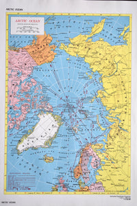 "1940s Map of The Arctic Ocean - 14.25""x10.25"" - Hammond's Ambassador World Atlas - Printed in the USA - Antique Maps to Frame"