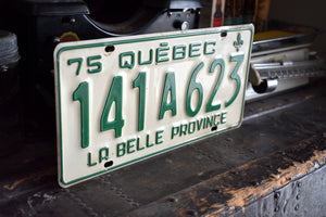 1975 Quebec License Plate - Vintage Automobile ID - Wall Hanging - Industrial Decor -  Canadian Provinces - 141A623