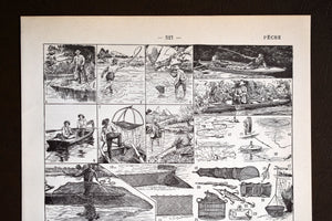 "Antique Fisherman Lithograph - 1920s Larousse - 11.5""x7.25"" - French - Printed in Paris, France - Fishing - Pêcher"