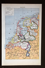 "Load image into Gallery viewer, Antique Map of The Netherlands Lithograph - 1920s Larousse - 11.5""x7.25"" - French - Printed in Paris, France - Pays Bas"