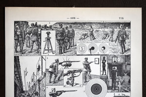 "Antique Shooting Lithograph - 11.5""x7.25"" - 1920s Larousse - French Lithograph - Printed in Paris, France - Tirs"