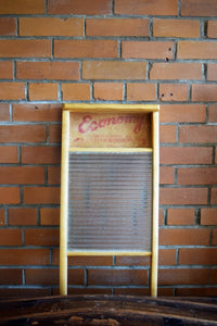 Vintage Wooden Economy Washboard - Glass - Manufactured in Canada by Canadian Woodenware - Country Rustic Antique