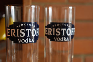 Eristoff Vodka Glasses - Set of 2 - Vintage Alcohol Collectibles - ERISTOFF VODKA - Drinking Glasses - Retro Barware