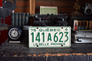 1975 Quebec License Plate - 141A623 - Vintage Automobile ID - Wall Hanging - Industrial Decor -  Canadian Provinces