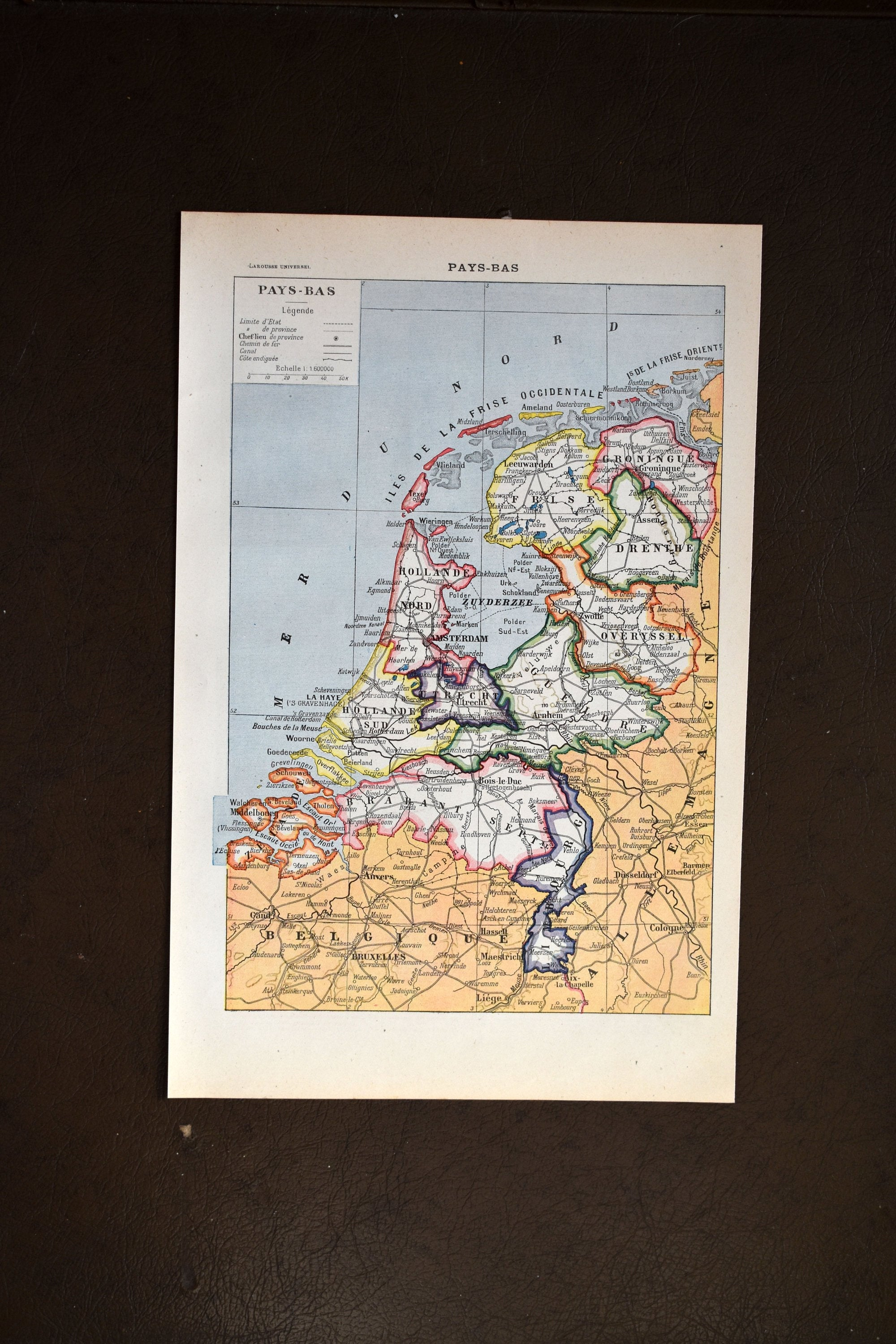 Antique Map of The Netherlands Lithograph - 1920s Larousse - 11.5