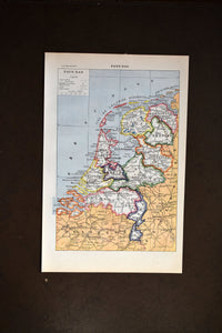 "Antique Map of The Netherlands Lithograph - 1920s Larousse - 11.5""x7.25"" - French - Printed in Paris, France - Pays Bas"