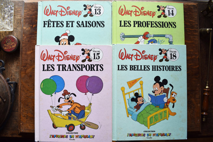 Walt Disney Learning Books - French Language - Bantam Books - Transmo - Set of 16 Hardcovers - Printed in the USA - 1980s