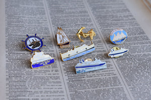 Vintage Ships and Boats Lapel Pins - Set of 8 Pins - Nautical Themed Pins - Made in Canada
