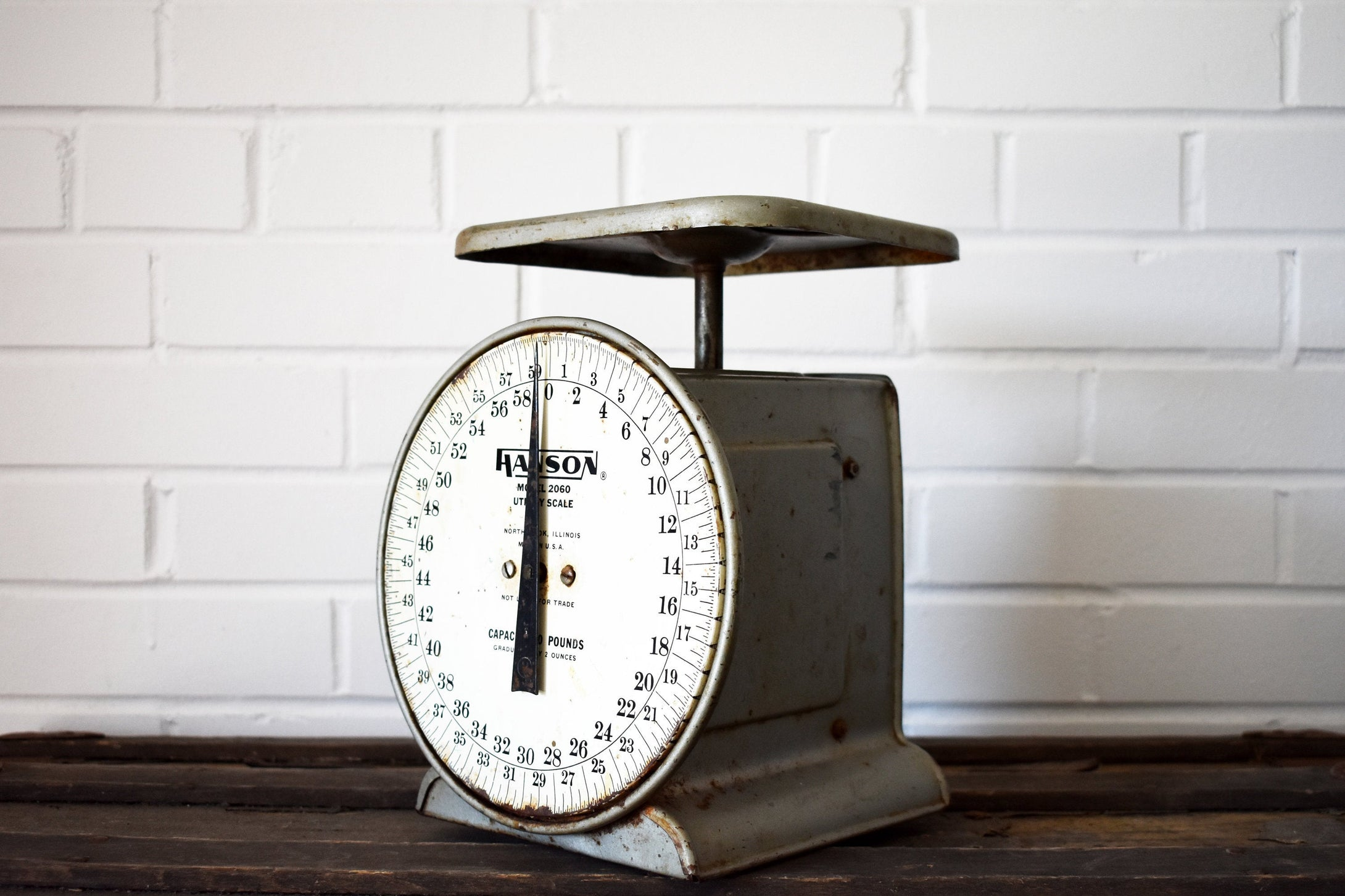 Large Industrial Metal Scale - Hanson Model 2060 Utility - Made in Chicago, USA - 60lb Capacity - 100% Functional - 1960s