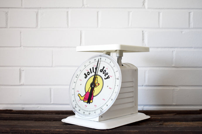 Jolly Joey Family Scale - 24lbs Capacity - Household Scale - Vintage Scales - Baby Scale - Playroom Scale - Play Scale - White Scale