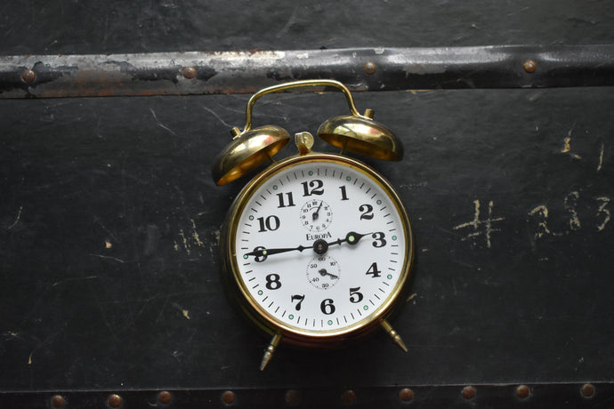 Brass Europa Alarm Clock - Manual Wind Up - 100% Functional - Vintage Clocks