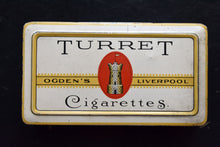 Load image into Gallery viewer, Ogden's Turret Cigarette Tin - VINTAGE TOBACCO - Vintage Smoking Advertising - Liverpool, England - Imperial Tobacco Co. - Canada