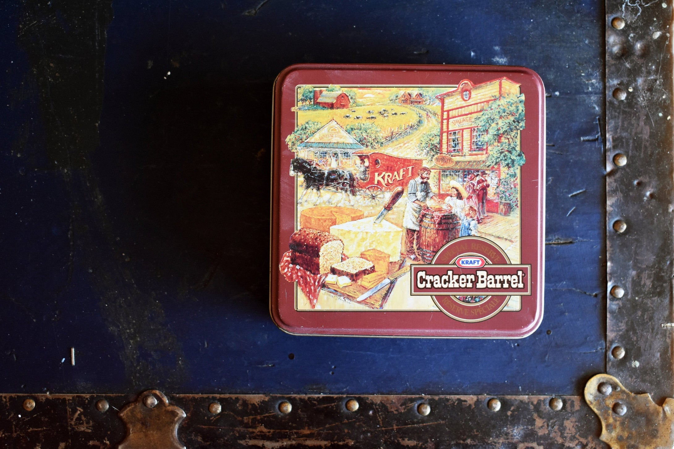 Kraft Cracker Barrel Cheese Tin - Vintage Food Advertising Container- Made in Canada - 1990s