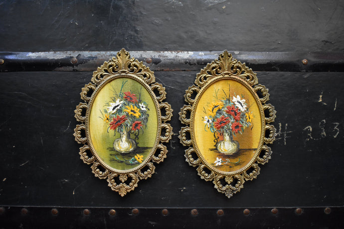 Small Brass Painted Frames - Set of 2 Frames - Floral Bouquet Design - Vintage Home Decor