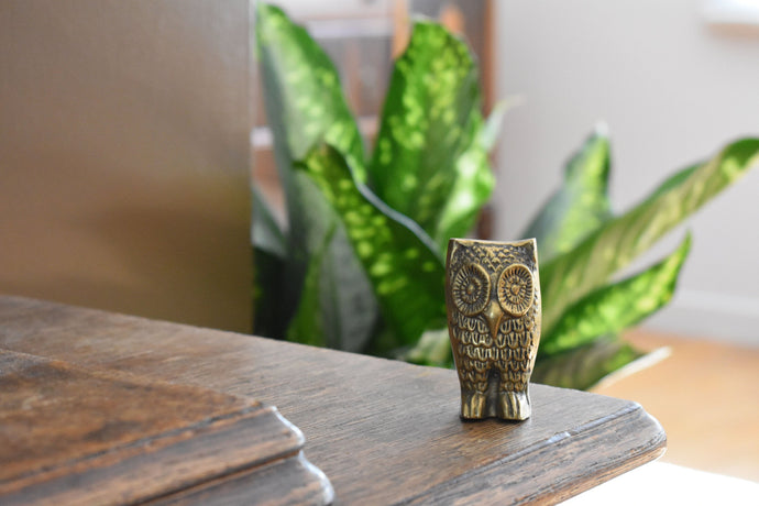 Brass Owl Statue - Vintage Brass Ornament - Brass Decoration - Lot 1