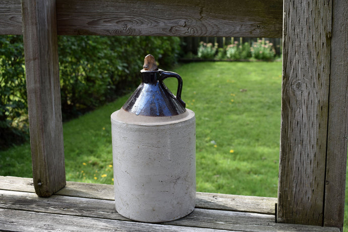 Old Whiskey Jug - Vintage Crock - Antique Crocks - Vintage Country Farm Jar - Large Ceramic Whisky Crock with Wooden Stopper