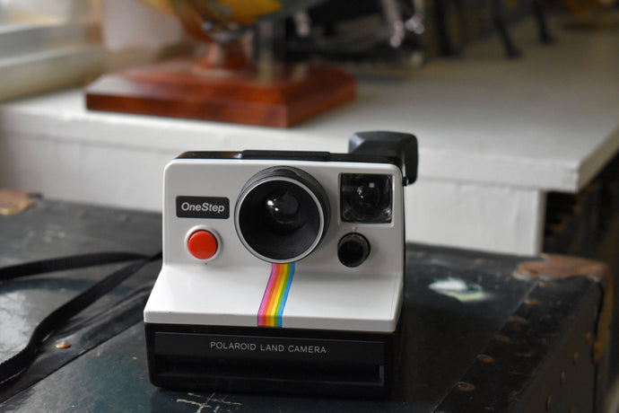 Polaroid One Step Land Camera with Rainbow Stripe Logo - Black White Red - Vintage Polaroids - Retro Camera - 70s,80s,90s - Made in the USA
