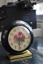 Load image into Gallery viewer, Waterbury Clock - US Time Corporation Alarm Clock - Painted Flowers - Manual Wind Up - 100% Functional - Vintage Clocks