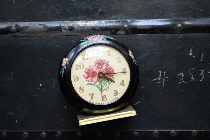 Waterbury Clock - US Time Corporation Alarm Clock - Painted Flowers - Manual Wind Up - 100% Functional - Vintage Clocks
