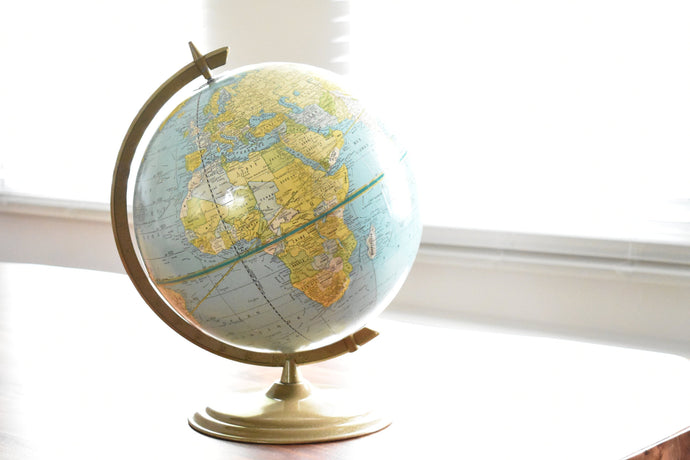 George F. Cram Globe - Vintage World Globe - French Language Globe - 12inch Diameter - Brass Globe
