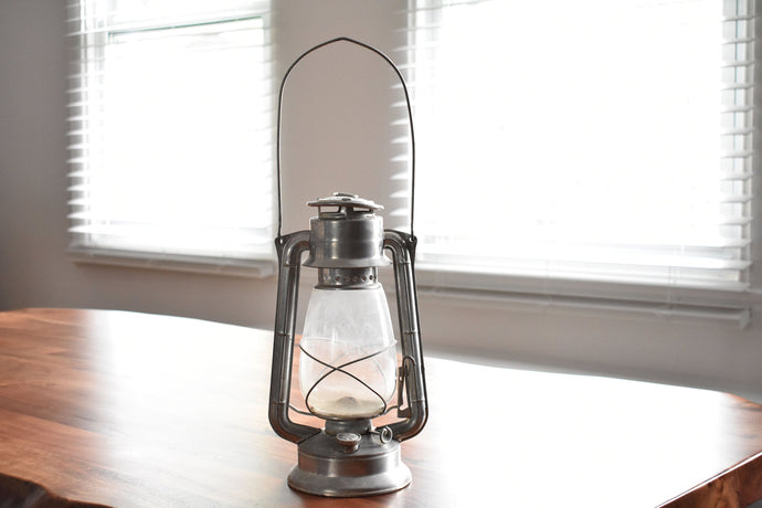 Silver Meva Lantern - Meva No. 865 - Made in Czechoslovakia - Paraffin Oil Lamp
