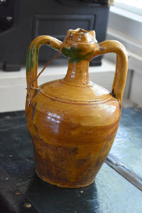 Antique Handmade Ceramic Jug with Wooden Stopper