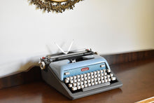 Load image into Gallery viewer, Royal Futura 800 Typewriter - Two Tone Blue & Gray - 100% Functional - Comes with Fresh Ribbon and Original Case - Working