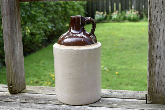 Antique Clay Crock - Brown - Made in Canada - Whisky Jug - Ceramic Moonshine Bottle - Vintage Farm Jar - Country Rustic Home Decor - Canada