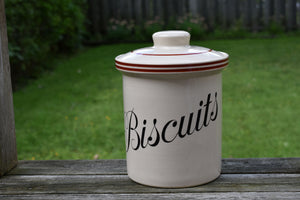 Vintage Cookie Jar - Biscuits - Made in England - T.G. Green - Ascot White Cookware - Sienna