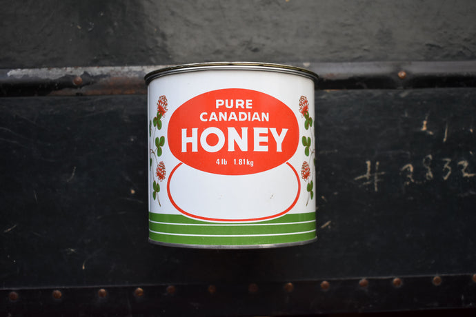 Pure Canadian Honey Tin - Weight 4 Pounds Net - PURE CANADIAN HONEY - Made in Canada - Lot 2