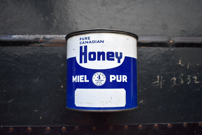 Pure Canadian Honey Tin - Weight 4lbsNet - PURE CANADIAN HONEY - Vintage Advertising Container - Country Rustic - Made in Canada - Miel Pur