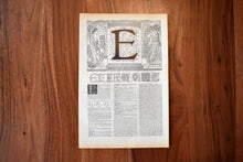 "Load image into Gallery viewer, Antique Letter E Lithograph - 11""x7.25"" - 1920s Larousse - Printed in Paris, France - Universal Print - Letters of the Alphabet"