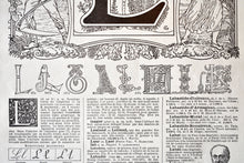 "Load image into Gallery viewer, Antique Letter L Lithograph - 11""x7.25"" - 1920s Larousse - Printed in Paris, France - Universal Print - Letters of the Alphabet"