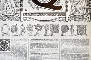 "Antique Letter Q Lithograph - 11""x7.25"" - 1920s Larousse - Printed in Paris, France - Universal Print - Letters of the Alphabet"