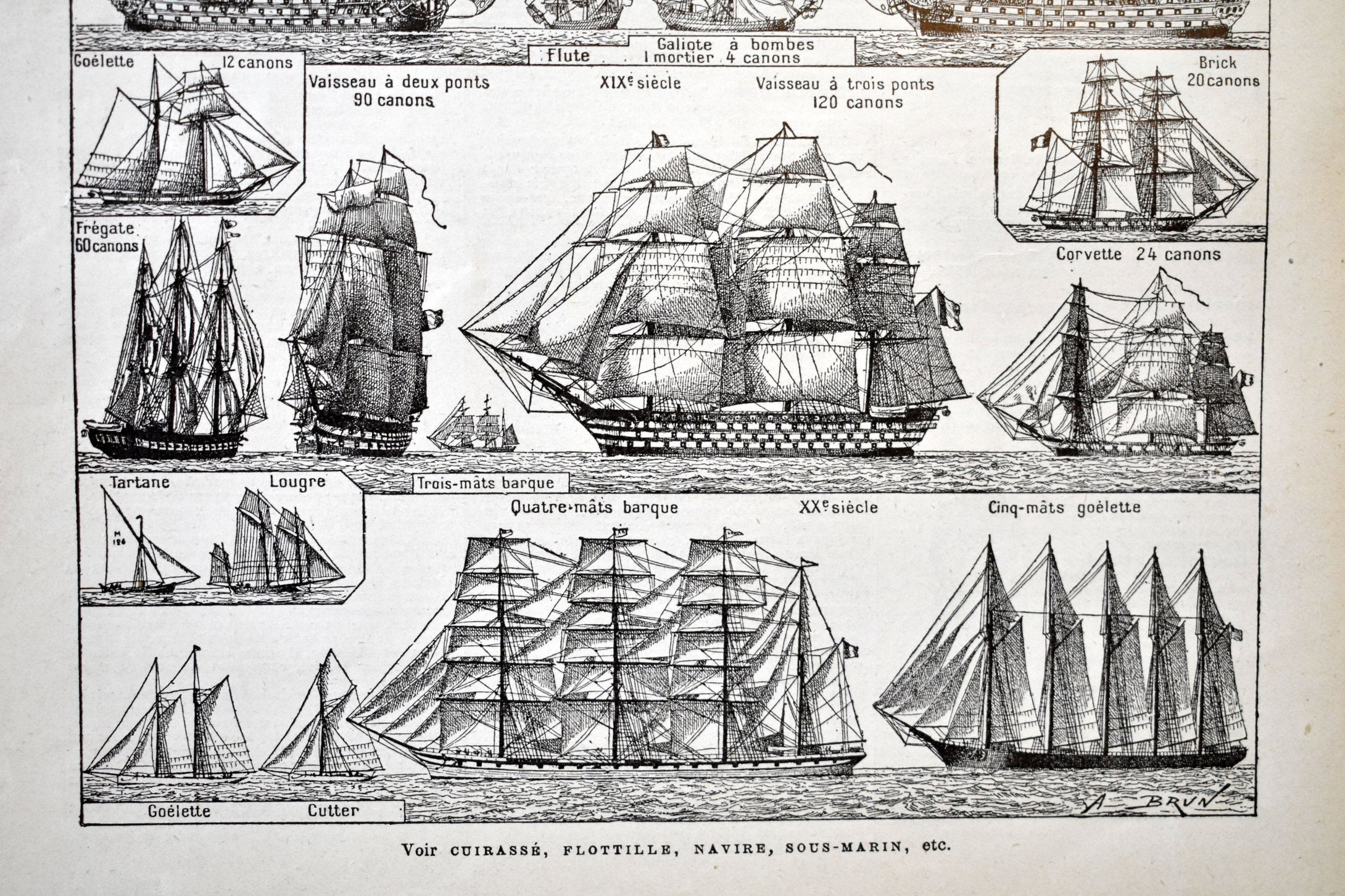 Antique Boat and Ship Lithographs - 11.5