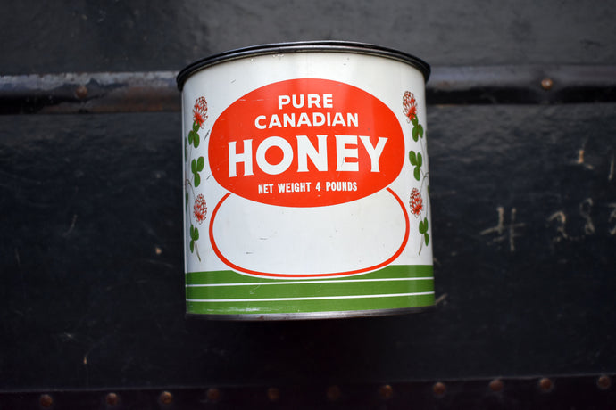 Pure Canadian Honey Tin - Weight 4 Pounds Net - PURE CANADIAN HONEY - Made in Canada - Lot 1