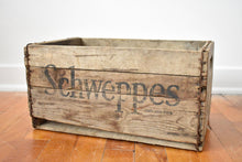 Load image into Gallery viewer, Schweppes Soda Crate - Antique Wooden Crate - Towel Box - Decorative Box - Wood Crate - Vintage Crates - Made in Canada - L2