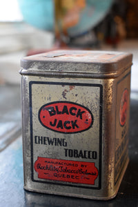 Black Jack Chewing Tobacco Tin - Antique Tobacco Tin - Rock City Tobacco Co. - Montreal, Quebec, Canada