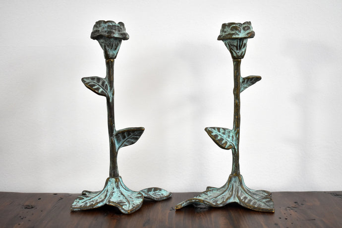 Distressed Green Metal Candlesticks - Set of 2 Vintage Candle Holders - Mid Century - Old Candle Sticks