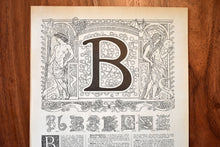 "Load image into Gallery viewer, Antique Letter B Lithograph - 11""x7.25"" - 1920s Larousse - Printed in Paris, France - Universal Print"