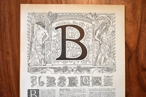 "Antique Letter B Lithograph - 11""x7.25"" - 1920s Larousse - Printed in Paris, France - Universal Print"