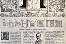 "Load image into Gallery viewer, Antique Letter H Lithograph - 11""x7.25"" - 1920s Larousse - Printed in Paris, France - Universal Print - Letters of the Alphabet"