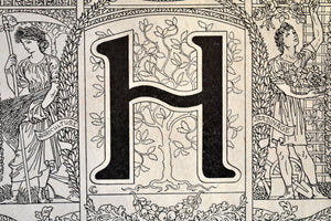 "Antique Letter H Lithograph - 11""x7.25"" - 1920s Larousse - Printed in Paris, France - Universal Print - Letters of the Alphabet"