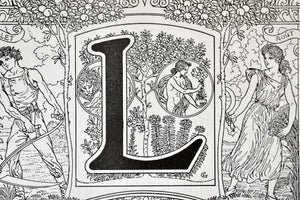 "Antique Letter L Lithograph - 11""x7.25"" - 1920s Larousse - Printed in Paris, France - Universal Print - Letters of the Alphabet"