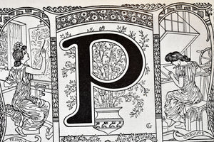 "Antique Letter P Lithograph - 11""x7.25"" - 1920s Larousse - Printed in Paris, France - Universal Print - Letters of the Alphabet"